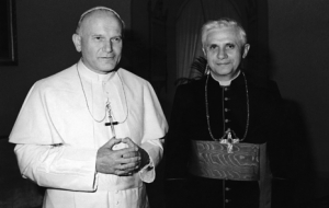 Pope John Paul II with then-Cardinal-Bishop Ratzinger, who will now be stepping down as Pope Benedict XVI.